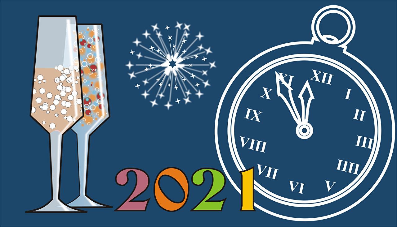 Картинка 2021 Рождество фейерверк Бокалы Циферблат Салют Новый год бокал