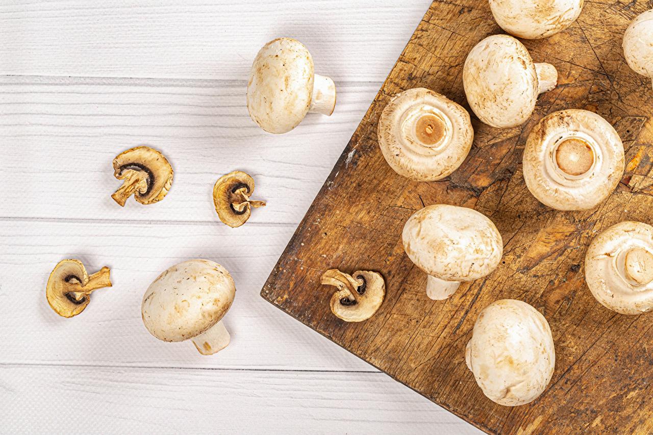 Картинки Шампиньоны двуспоровые Грибы Пища Разделочная доска Доски Еда Продукты питания разделочной доске