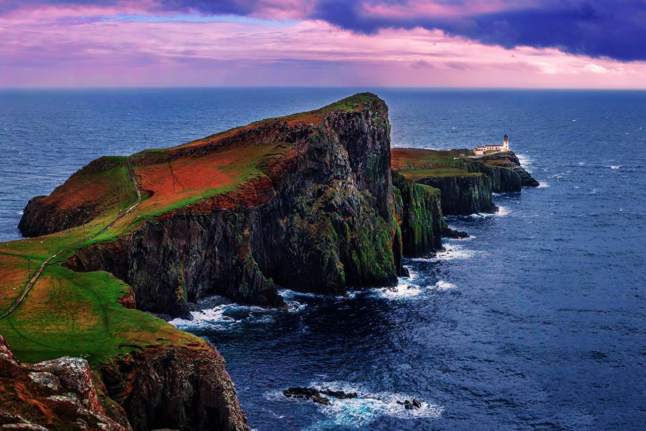 Фотография Шотландия Inner Hebrides Море Скала Природа берег Утес скале скалы Побережье