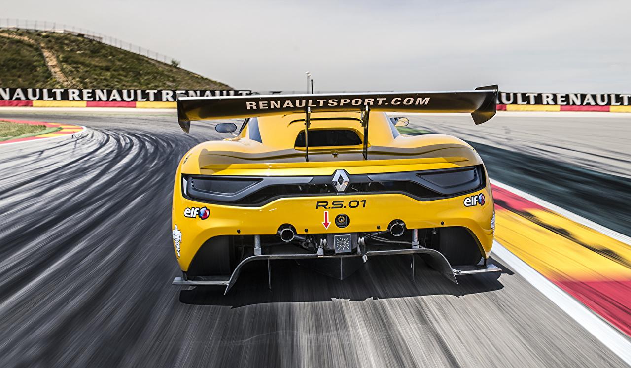 Фотография Renault 2014 Sport RS 01 желтая Сзади автомобиль Рено желтых желтые Желтый авто машина машины вид сзади Автомобили