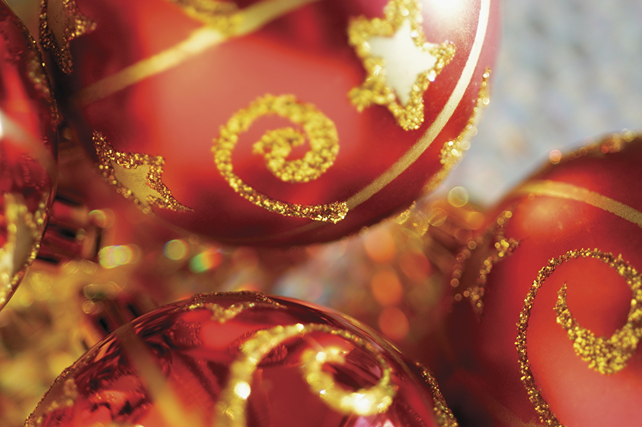Картинка Рождество Шарики Праздники Крупным планом Новый год Шар вблизи