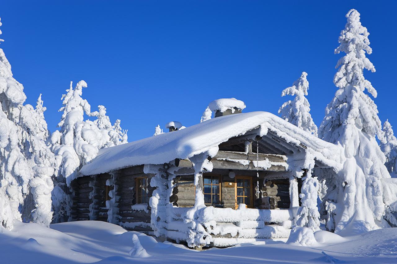 Фотография Лапландия область Финляндия зимние Природа Снег Деревянный Дома Зима снеге снегу снега из дерева Здания