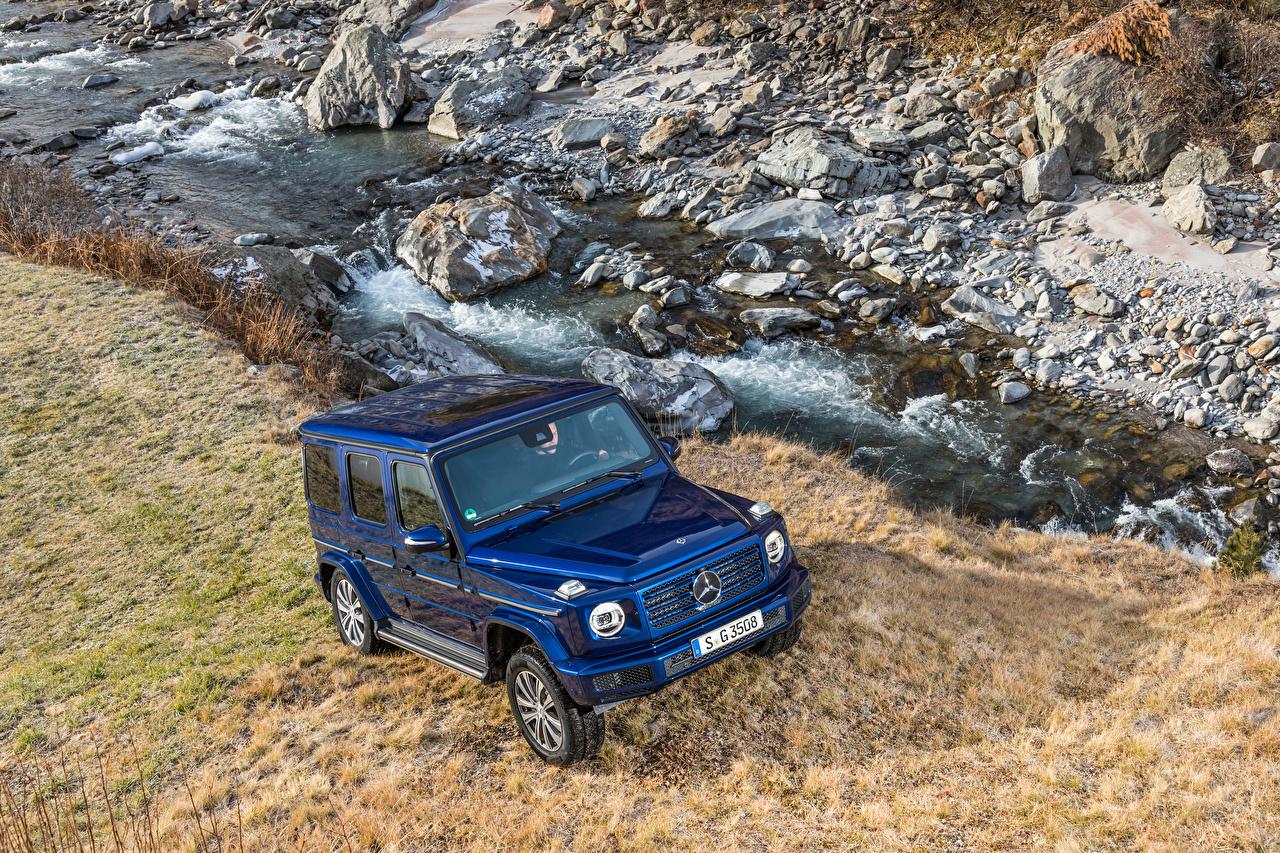 Фото Мерседес бенц SUV 2019 G 350 d Worldwide синие авто Металлик Mercedes-Benz Внедорожник синих Синий синяя машина машины автомобиль Автомобили