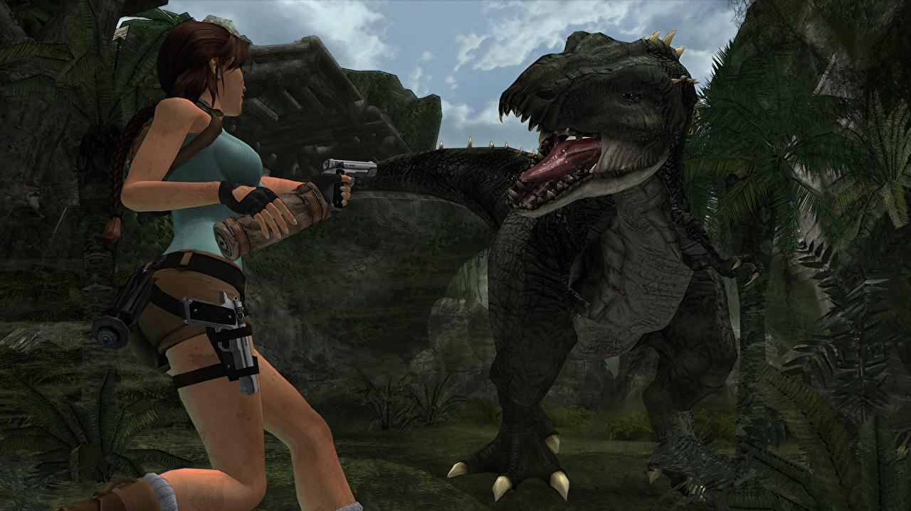 Фото Tomb Raider Tomb Raider Anniversary динозавр пистолет Лара Крофт Девушки 3D Графика Игры Динозавры Пистолеты пистолетом 3д девушка молодая женщина молодые женщины компьютерная игра