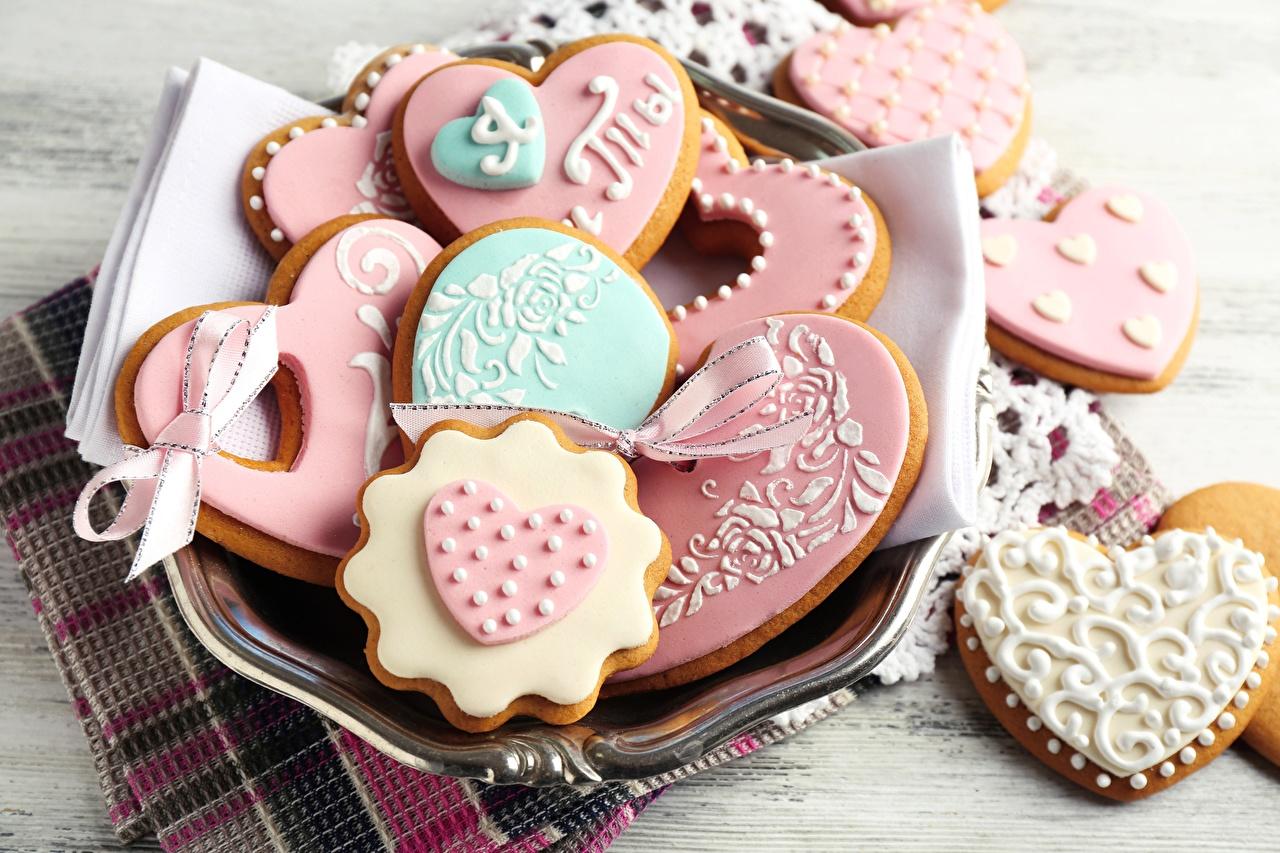 Фотографии День святого Валентина Печенье Продукты питания День всех влюблённых Еда Пища