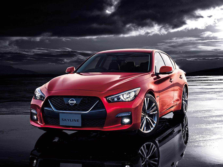 Картинки Nissan 2019-20 Skyline GT Hybrid Гибридный автомобиль красных авто Ниссан красная красные Красный машина машины Автомобили автомобиль