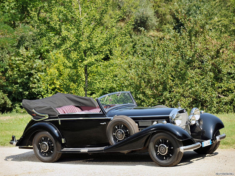 Картинки Мерседес бенц 540K Cabriolet C by Sindelfingen 1937 авто Mercedes-Benz машина машины автомобиль Автомобили