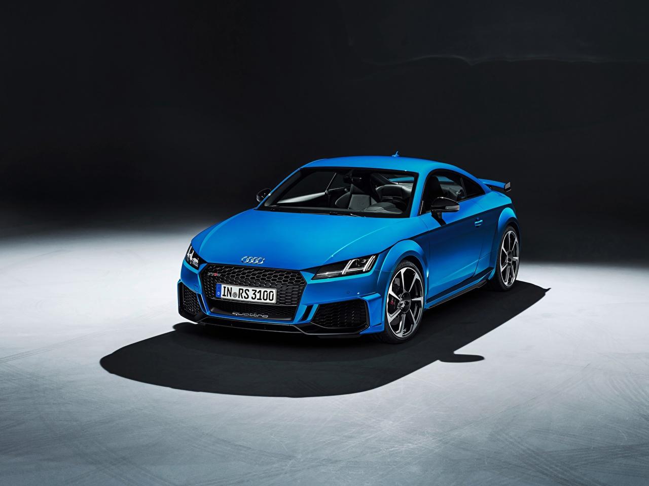 Обои для рабочего стола Ауди TT RS, 2020 Купе синие Металлик Автомобили Audi синих Синий синяя авто машина машины автомобиль