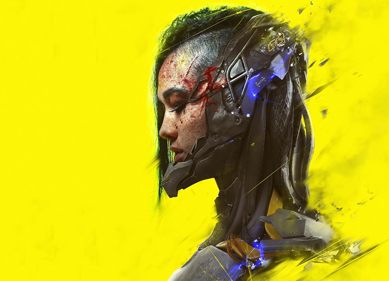 Фотография Cyberpunk Фэнтези девушка головы Цветной фон Киберпанк Девушки Фантастика молодая женщина молодые женщины Голова