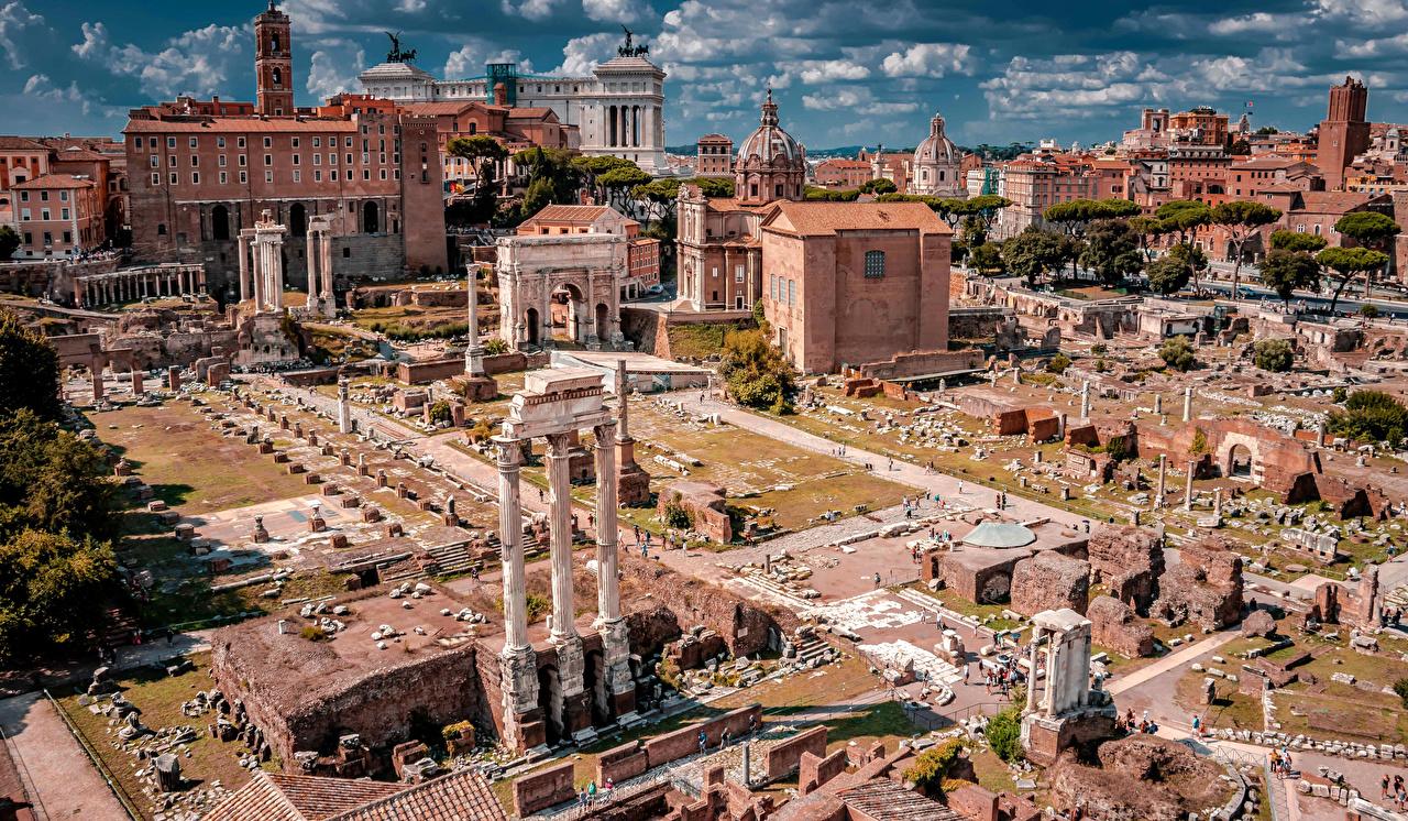 Картинка Рим Италия Palatine Hill Развалины Дома Города Известные строения Руины город Здания
