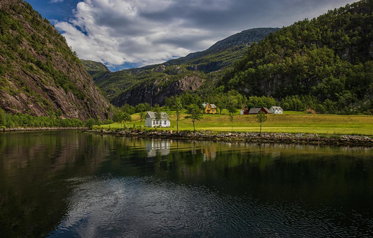 Картинка Норвегия Mostraumen Горы Природа Пейзаж Реки гора река речка