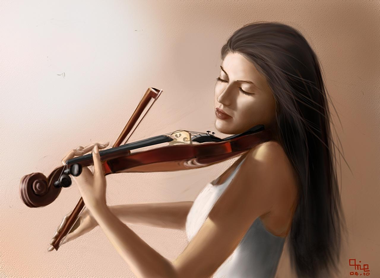 Обои для рабочего стола Скрипки шатенки Музыка молодая женщина Рисованные скрипка Шатенка девушка Девушки молодые женщины