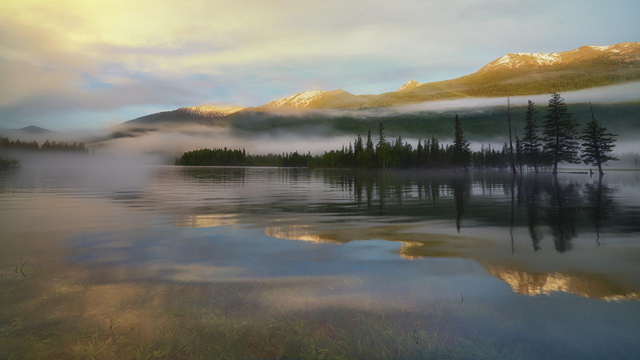 Фотография Китай Canas, southern Altai тумане гора Природа Озеро Пейзаж Туман тумана Горы