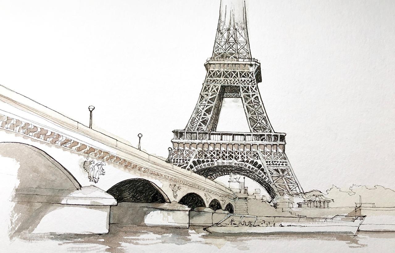 Фотография Париж Эйфелева башня Франция Pont d'Iéna Живопись Города Рисованные париже картина