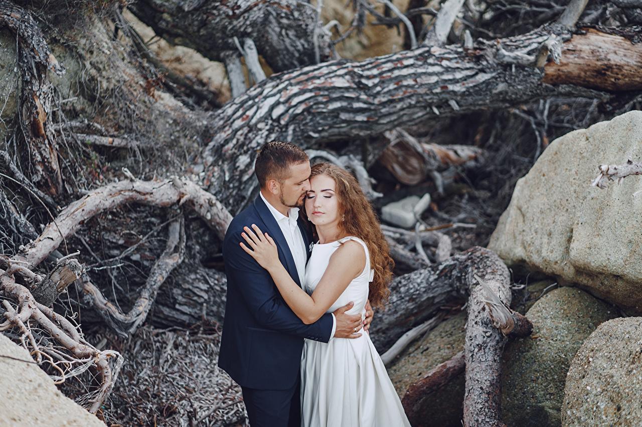 Фотографии Жених Шатенка Невеста Свадьба Двое Любовь Девушки Объятие 2 вдвоем