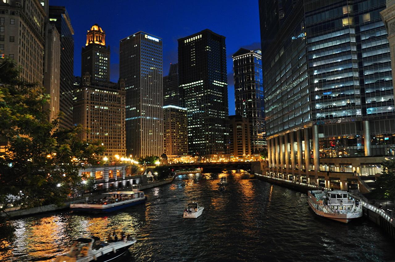 Фотографии Чикаго город США ночью Небоскребы Здания Города штаты америка Ночь в ночи Ночные Дома город