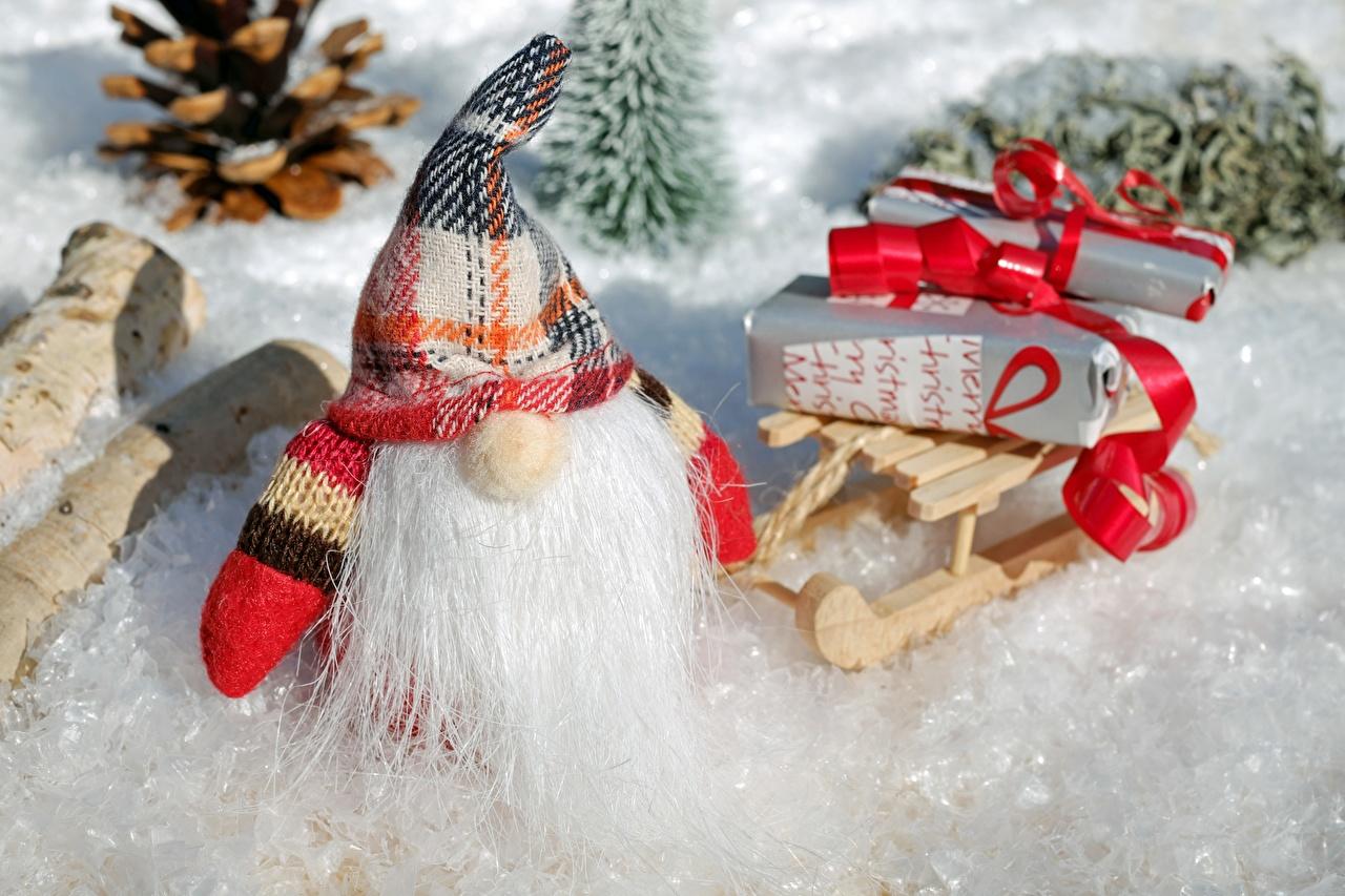Фотография Рождество Санки Борода Шапки зимние Санта-Клаус Подарки Новый год Сани Зима Дед Мороз
