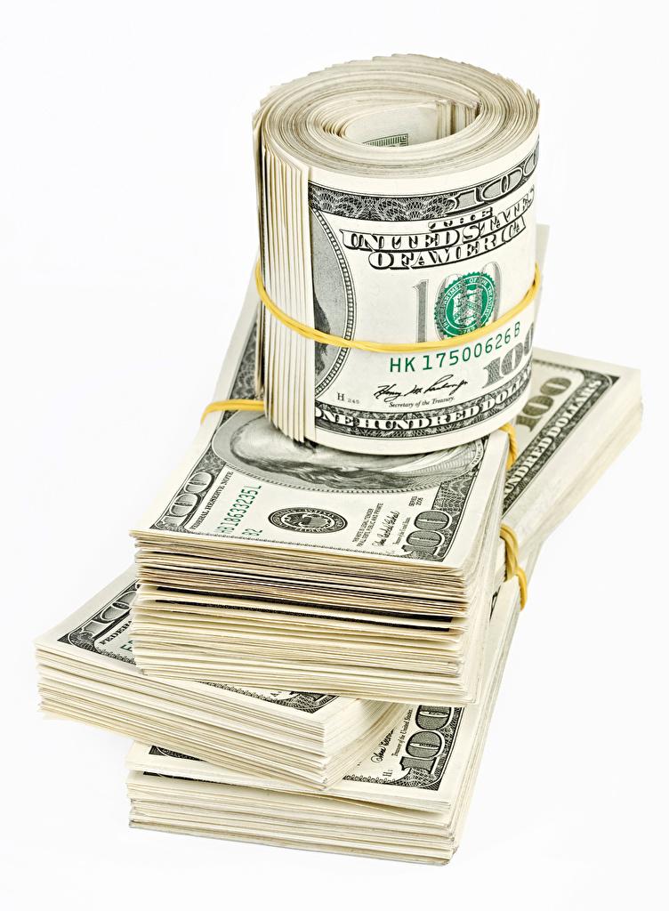 Фото Купюры Доллары Деньги белом фоне  для мобильного телефона Банкноты Белый фон белым фоном