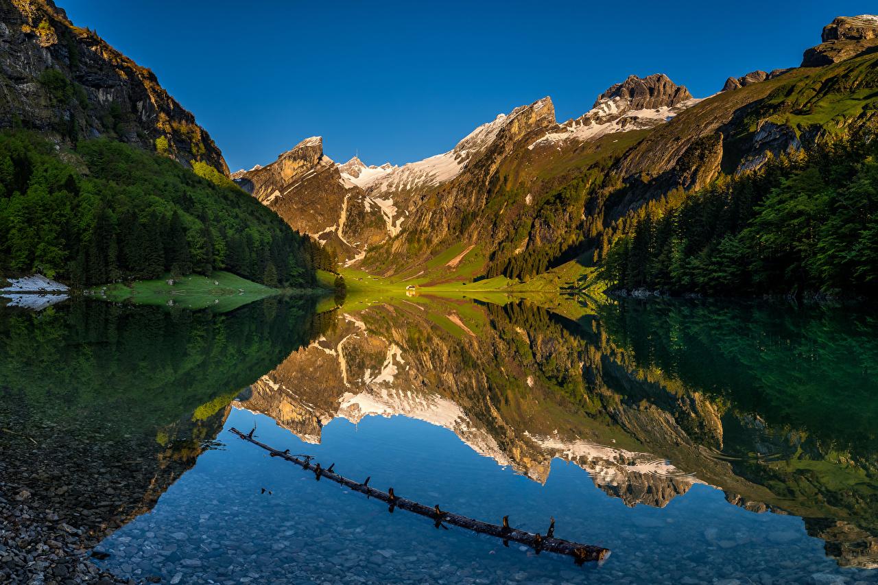 Картинки Альпы Швейцария Seealpsee Горы Природа Озеро отражается альп гора отражении Отражение