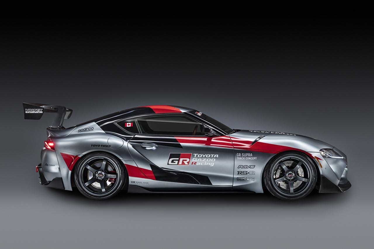 Обои для рабочего стола Тойота GR Supra Track Concept, 2020 Купе Серый авто Сбоку Toyota серая серые машина машины Автомобили автомобиль