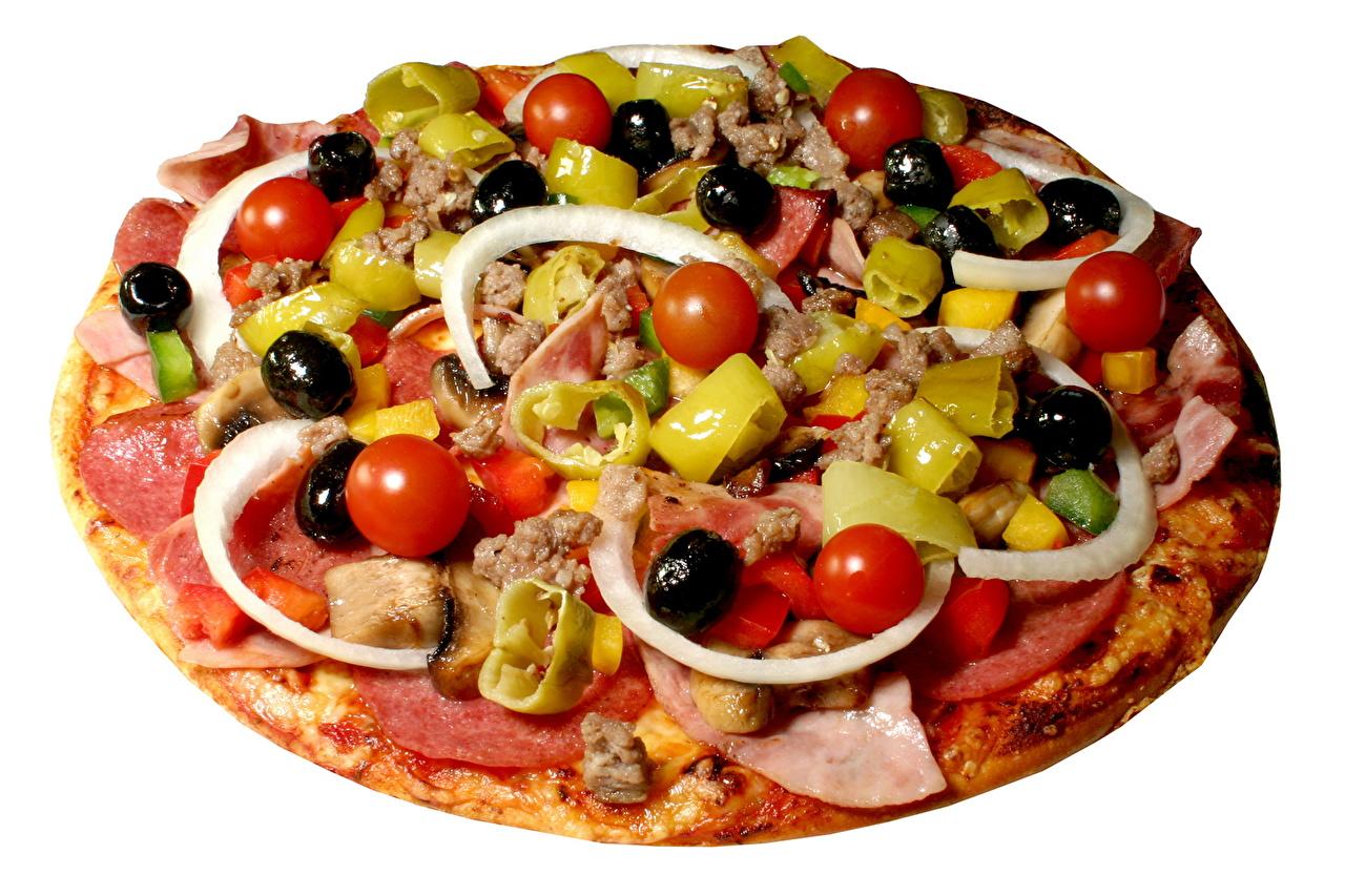 Фотографии Томаты Пицца Быстрое питание Оливки Помидоры Фастфуд