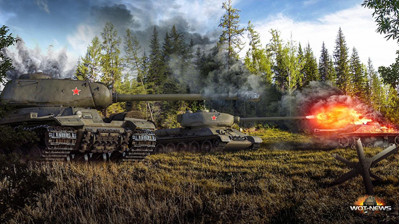 戦車から砲弾が放たれる壁紙