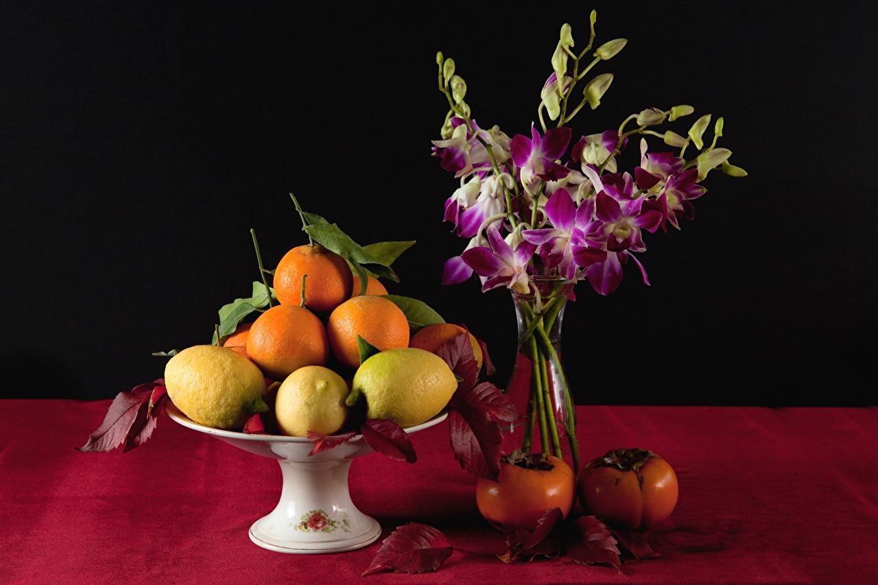 Фото Хурма Апельсин Лимоны цветок Еда вазы Фрукты Натюрморт Цветы вазе Ваза Пища Продукты питания