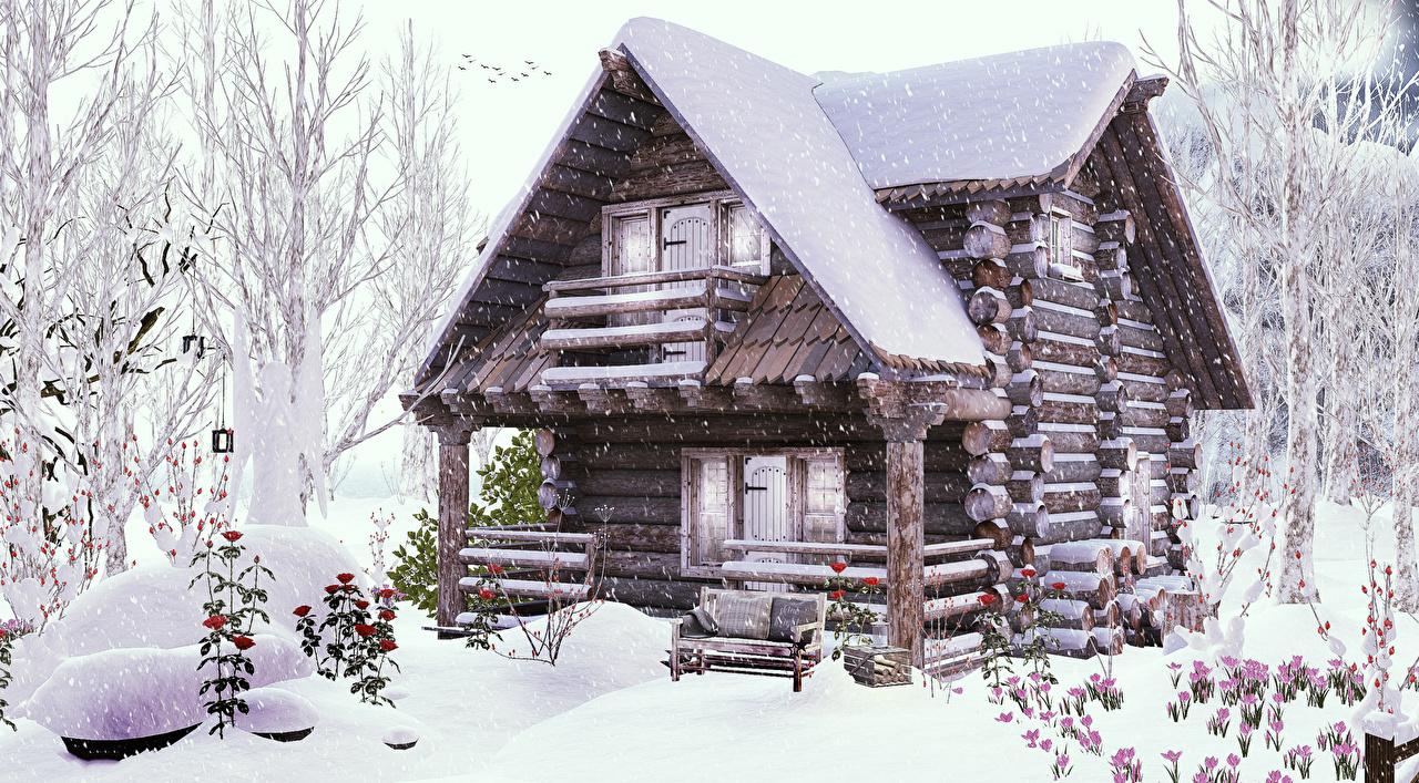 Картинки Зима Бревна 3D Графика Снег Деревянный Здания Дизайн зимние Дома