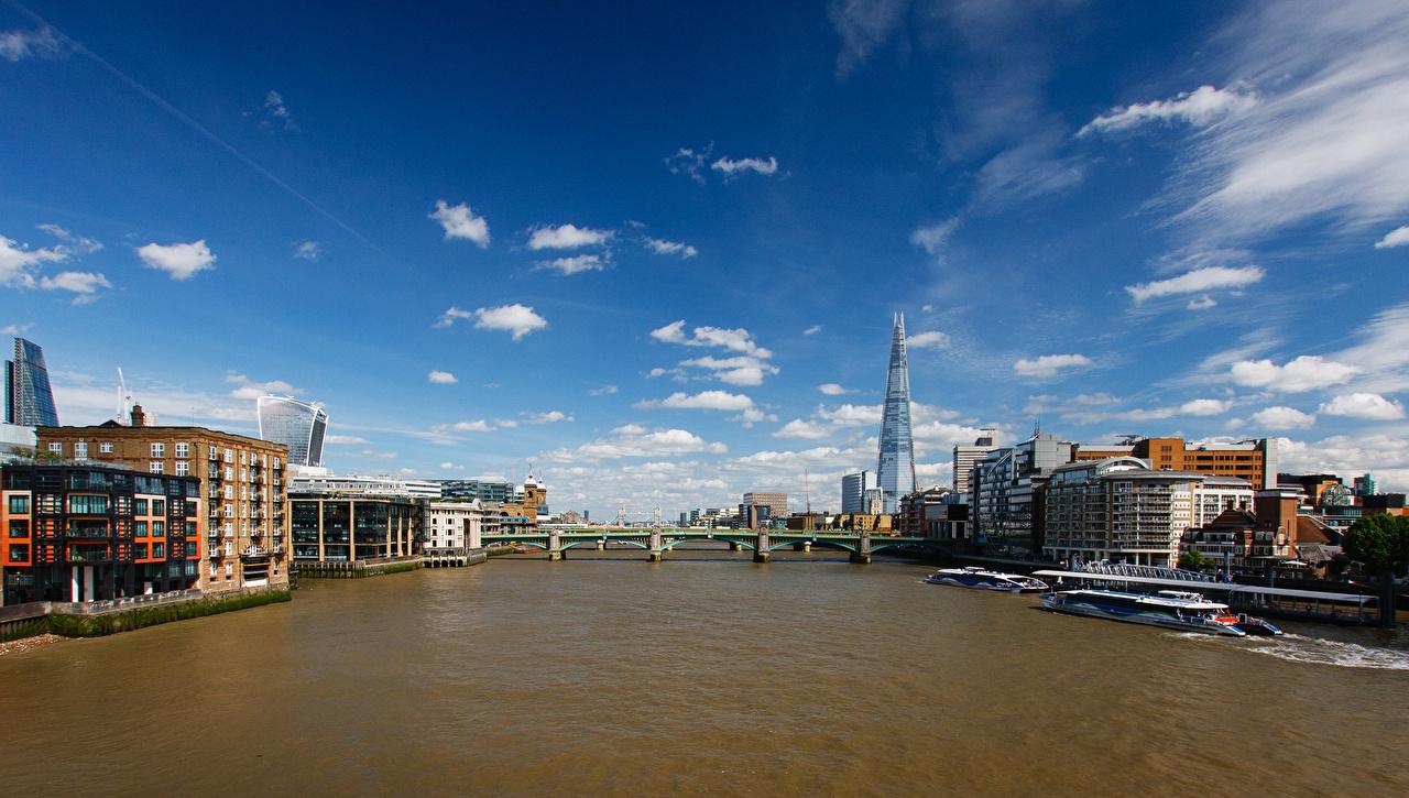 Фото лондоне Англия Мосты речка Причалы Города Здания Лондон Реки Пирсы Пристань Дома