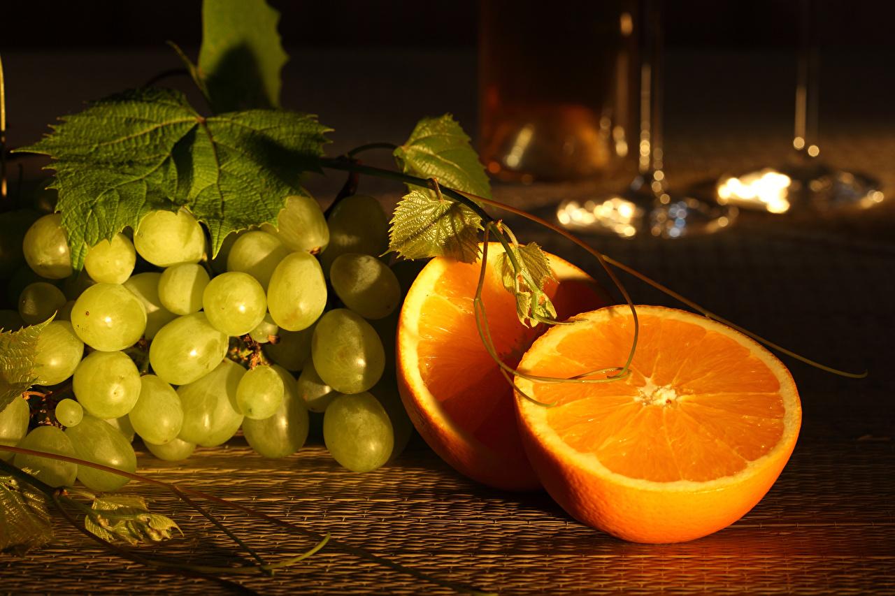 Обои Апельсин Виноград Пища Еда Продукты питания