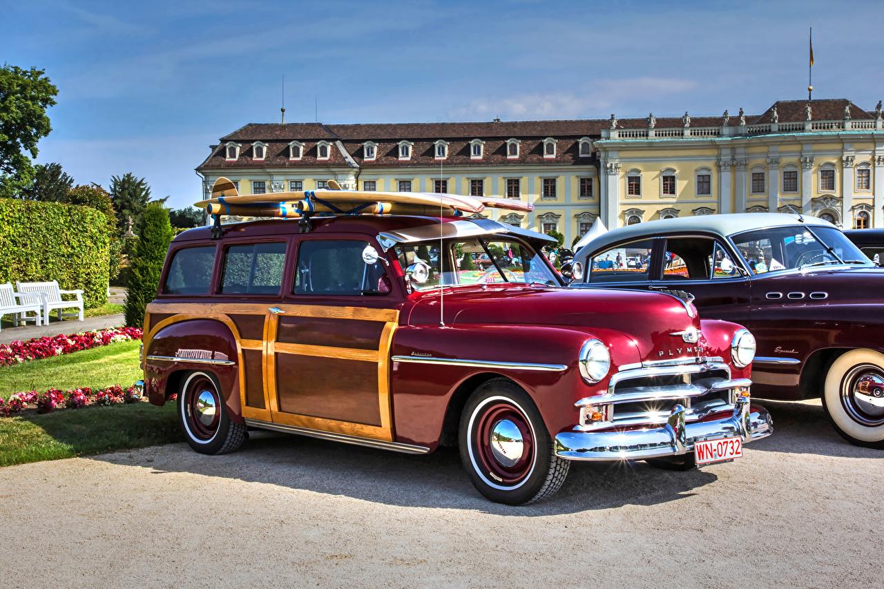 Фотография Плимут 1950 Woody винтаж бордовые машина Plymouth Ретро бордовая Бордовый старинные темно красный авто машины Автомобили автомобиль