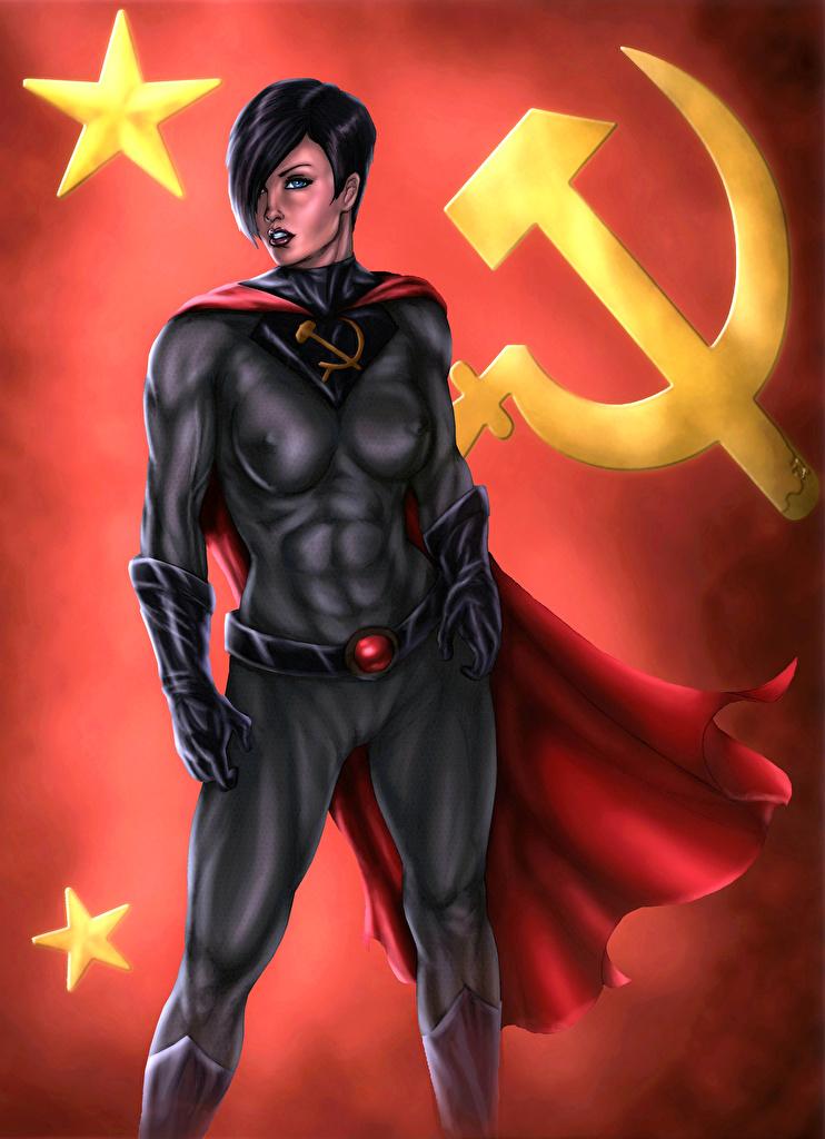 Обои Soviet Superwoman Герои комиксов Серп и молот Девушки Фантастика Советская Суперженщина Фэнтези