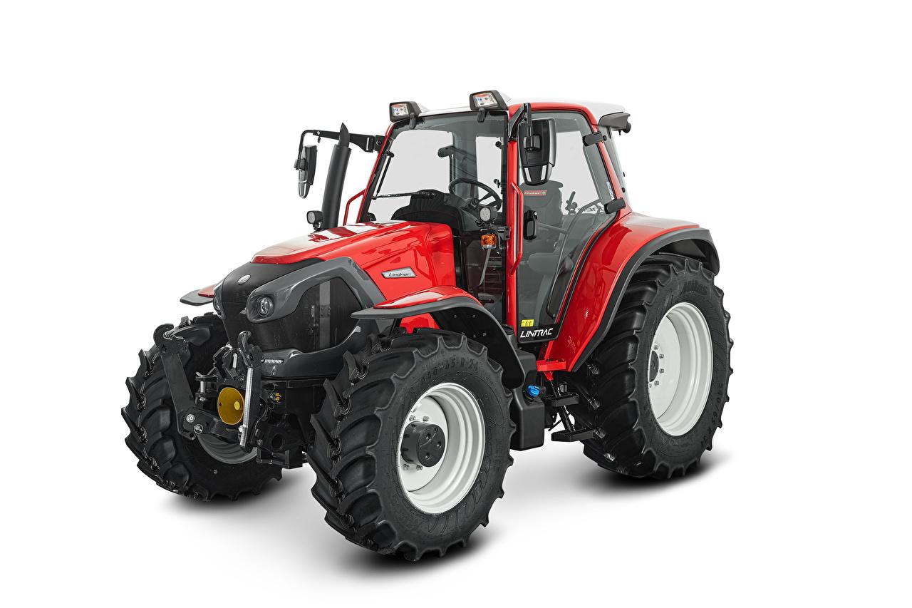 Картинки тракторы Lindner Lintrac 95 LS, 2020 красная белым фоном Трактор трактора Красный красные красных Белый фон белом фоне