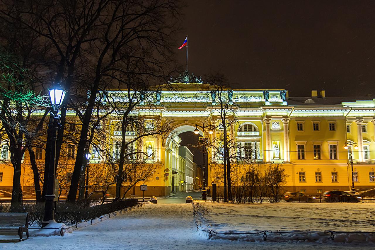 Фото Санкт-Петербург Россия Senate Square зимние Снег парк Уличные фонари город Здания Зима снеге снегу снега Парки Дома Города