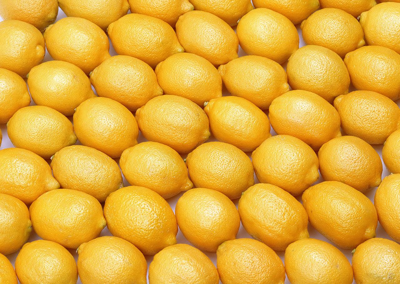 Обои для рабочего стола Текстура Лимоны Еда Фрукты Много Пища Продукты питания