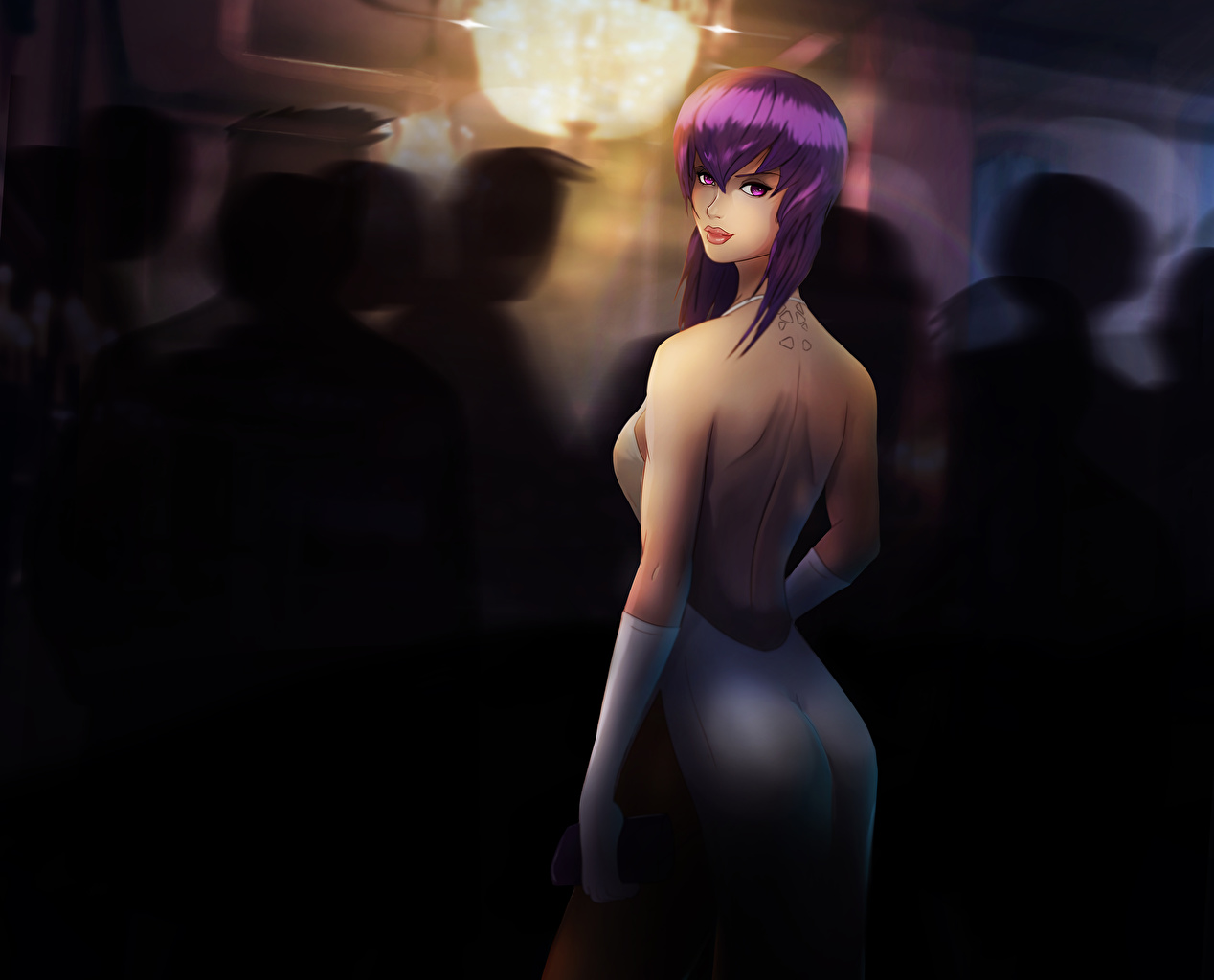 Фото Призрак в доспехах Fan ART Ghost in the Shell: Stand Alone Complex, Kusanagi Motoko Красивые Спина Девушки смотрит Рисованные Ghost in the Shell Фан АРТ Взгляд