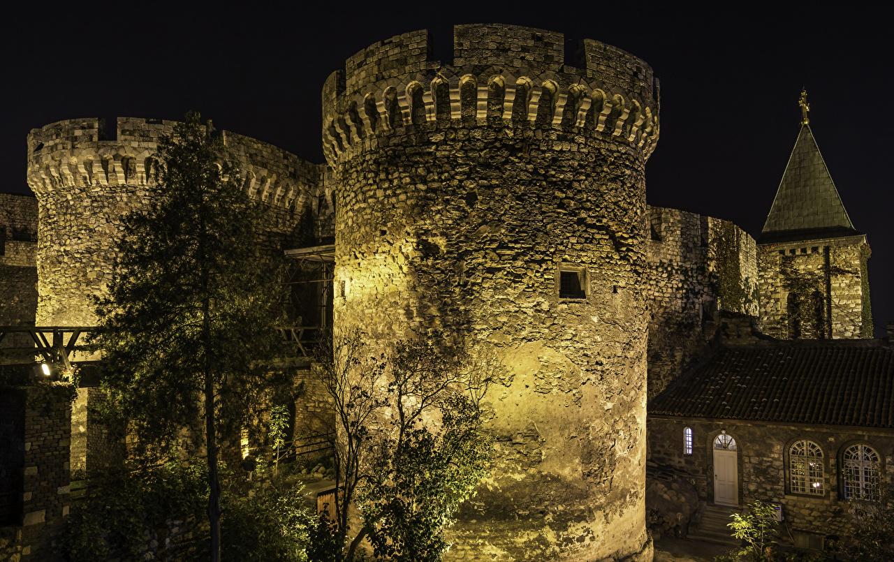 Фотографии Сербия Крепость Belgrade Fortress Ночь Города Ночные