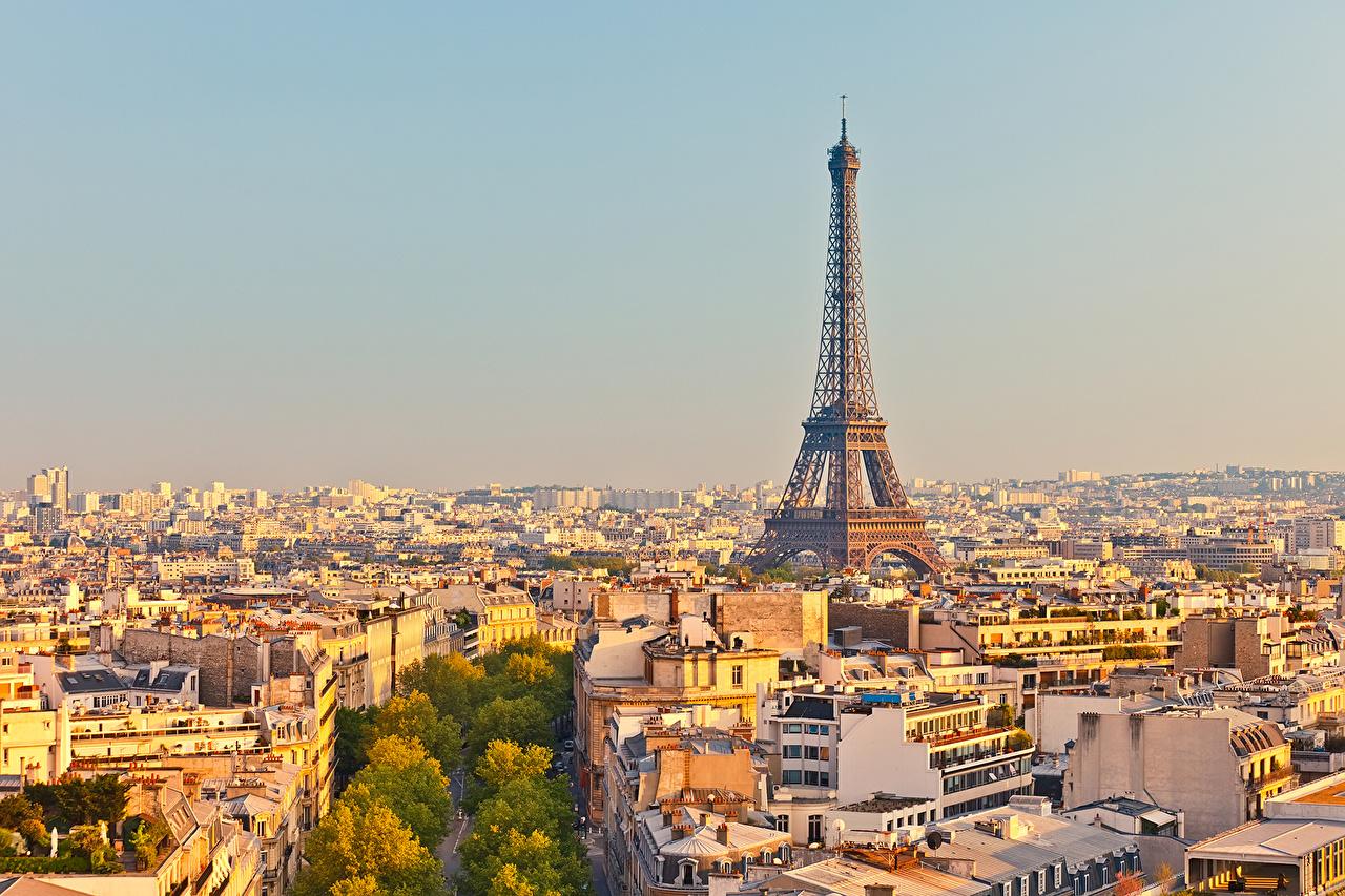 Обои Париж Эйфелева башня Франция Мегаполис Дома Города Здания