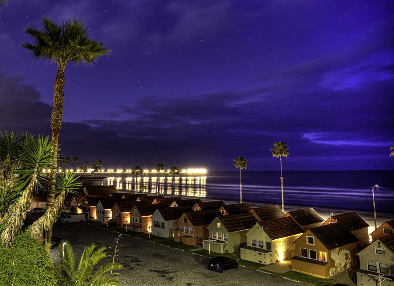 Фото Калифорния США Oceanside Небо берег в ночи город Здания калифорнии штаты америка Ночь ночью Ночные Побережье Дома Города