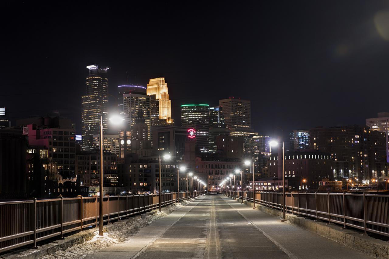 Обои США Minneapolis Minnesota Зима Мосты Снег Забор Уличные фонари Дома Города штаты зимние ограда Здания