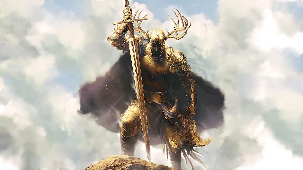 Обои для рабочего стола Мечи Рыцарь Доспехи воин с рогами золотых Фэнтези меч меча броня броне с мечом доспехе доспехах воины Воители Рога золотые золотая Золотой Фантастика