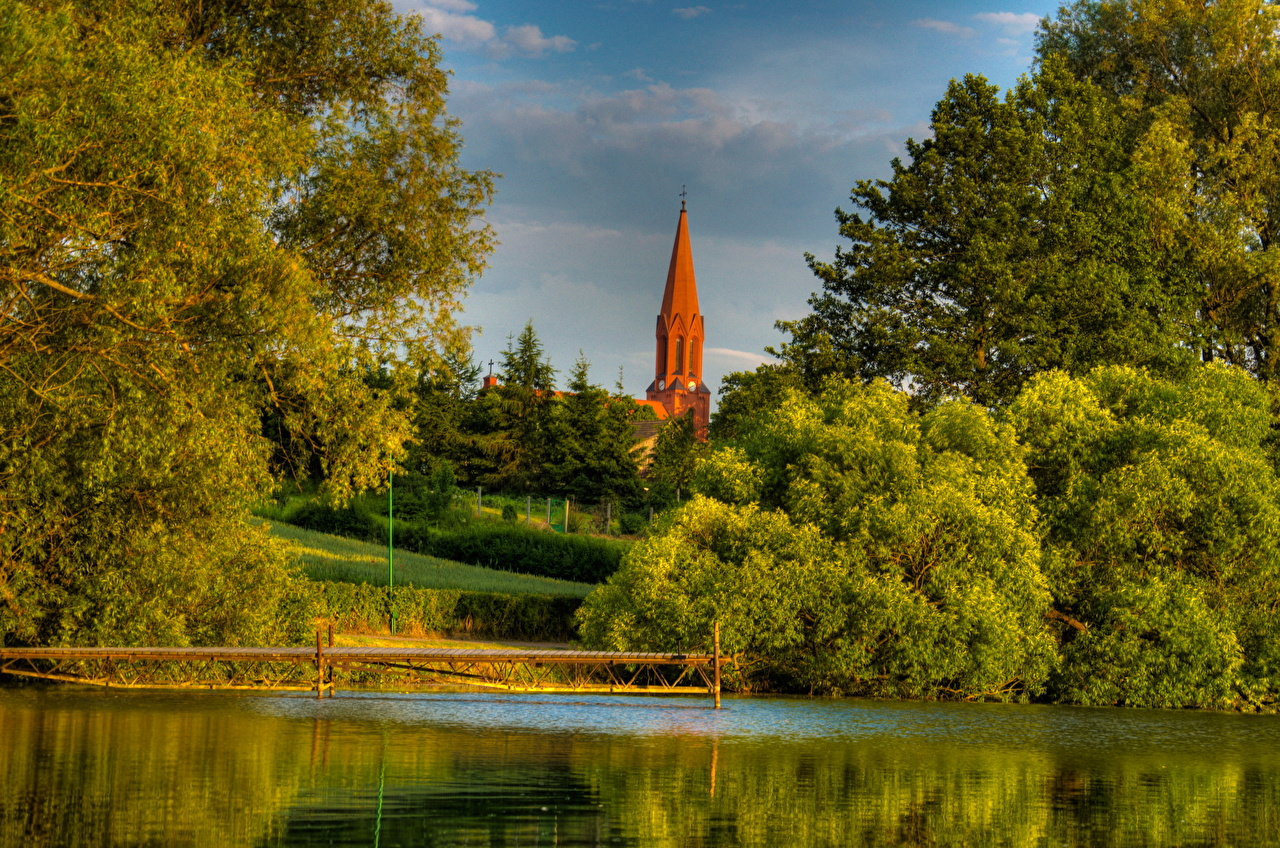 Фотографии Польша Gmina Cekcyn Природа Пейзаж речка Реки река