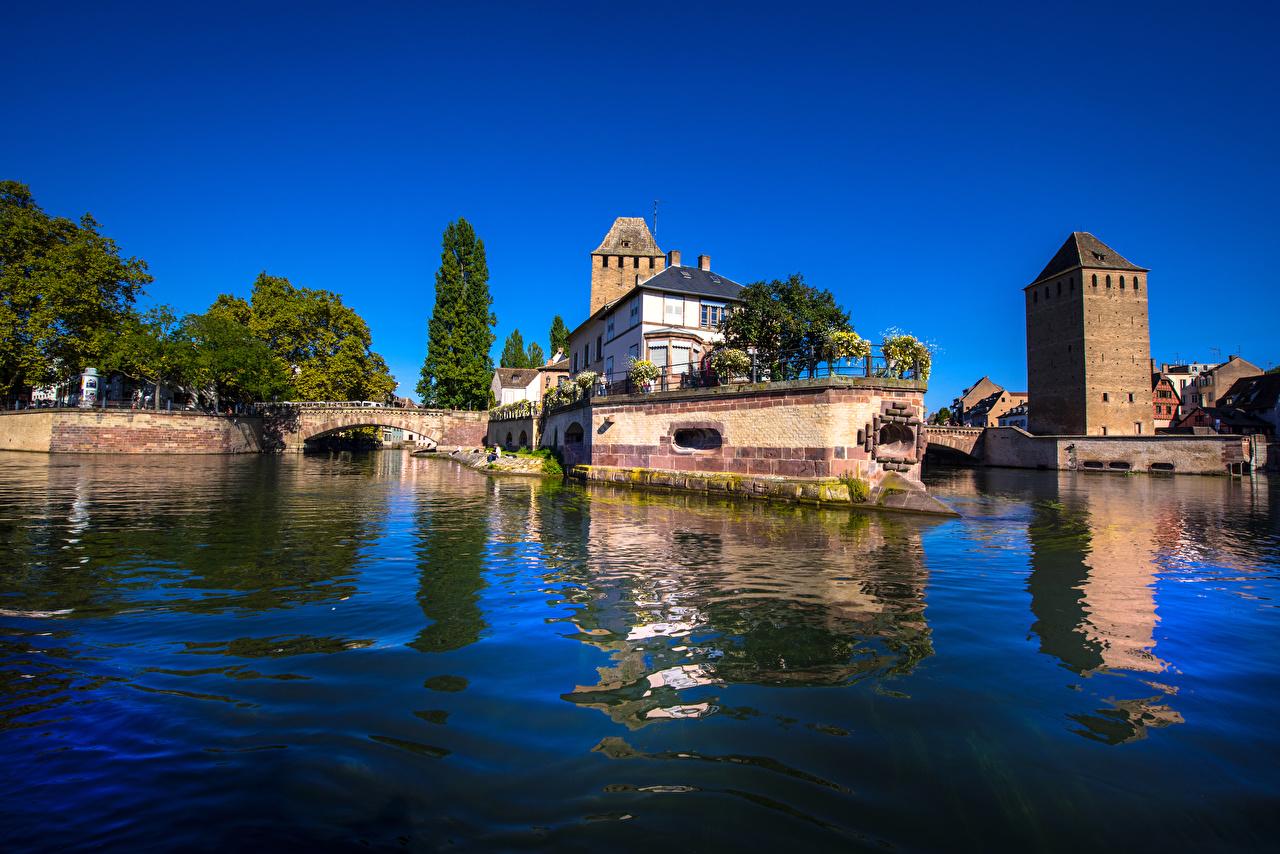 Картинка Города Франция Мосты речка Дома Страсбург Реки Здания