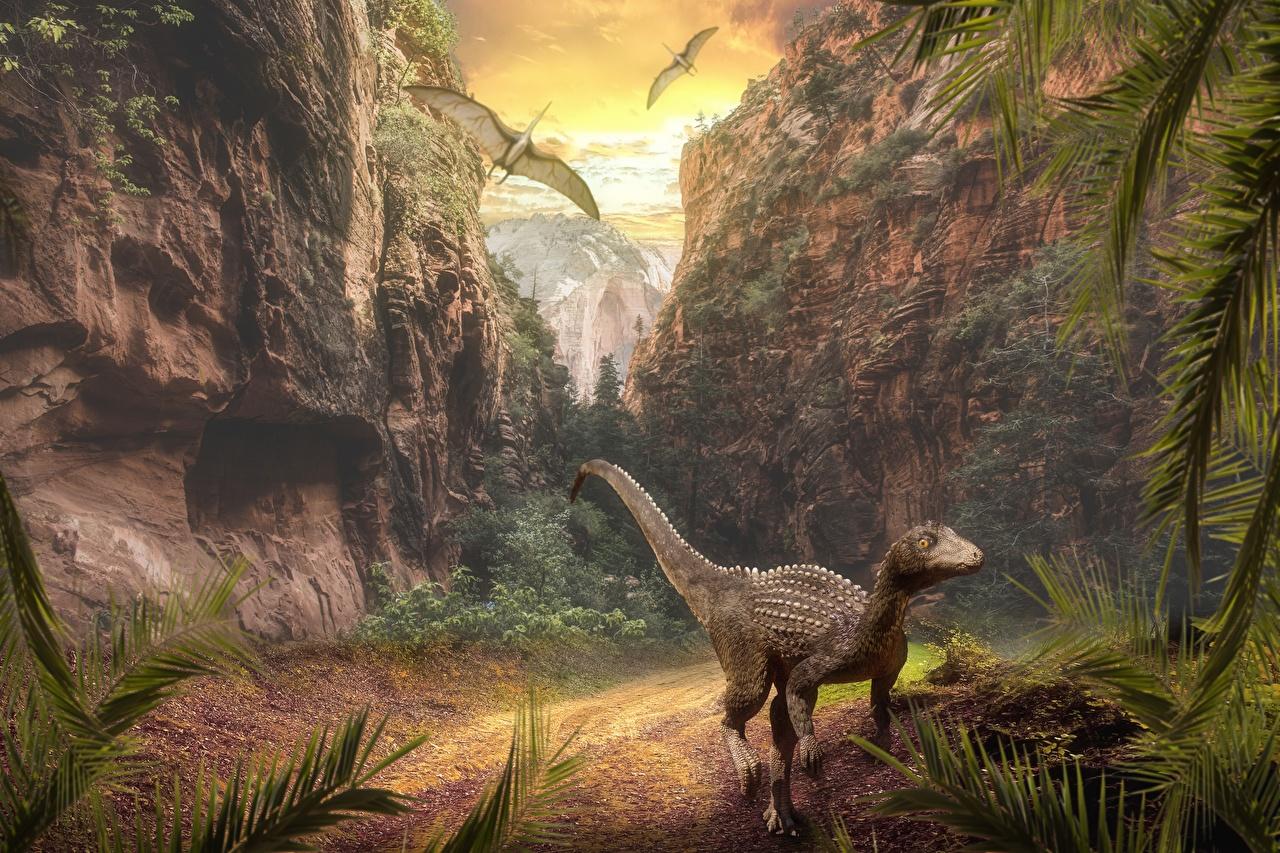 Фотографии динозавр Горы Скала Животные Динозавры гора Утес скале скалы животное