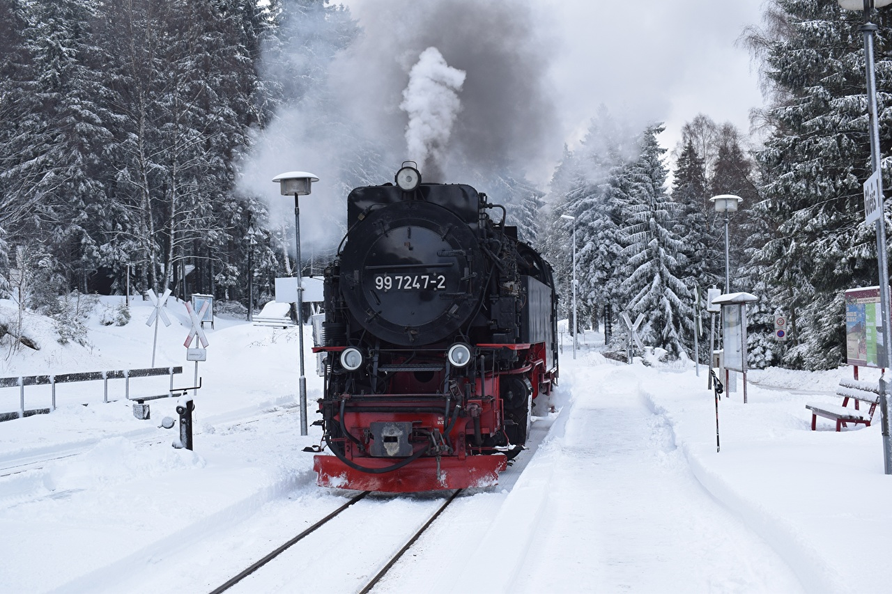 Фотография Зима снега Поезда дымит Железные дороги зимние Снег снеге снегу Дым