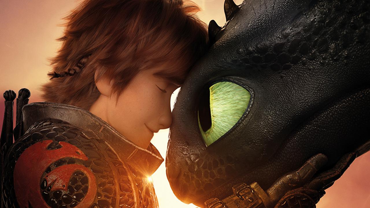 Картинки Как приручить дракона дракон подросток 3, Icking, Night Fury Мультики вблизи Драконы юноша Парни парень мультик Мультфильмы Крупным планом