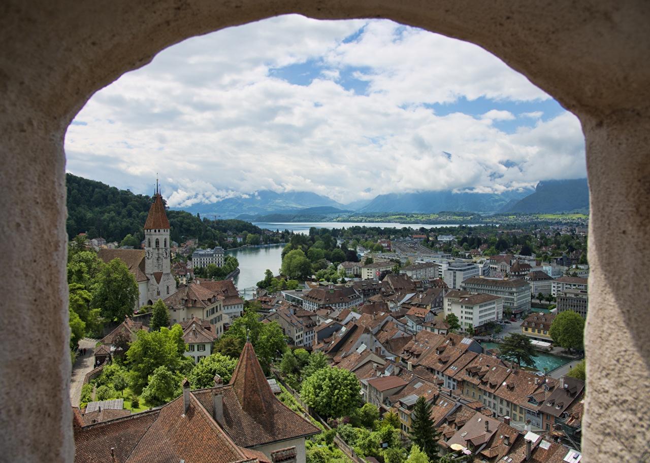 Фото Швейцария Tun, Tun Lake Озеро Окно город Здания окна Дома Города
