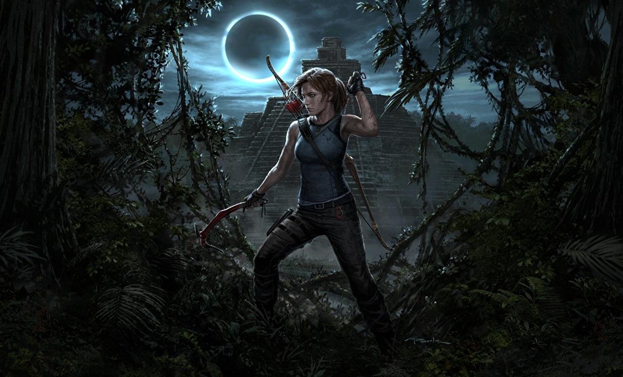 Картинки Лара Крофт Shadow of the Tomb Raider Игры луны Луна луной