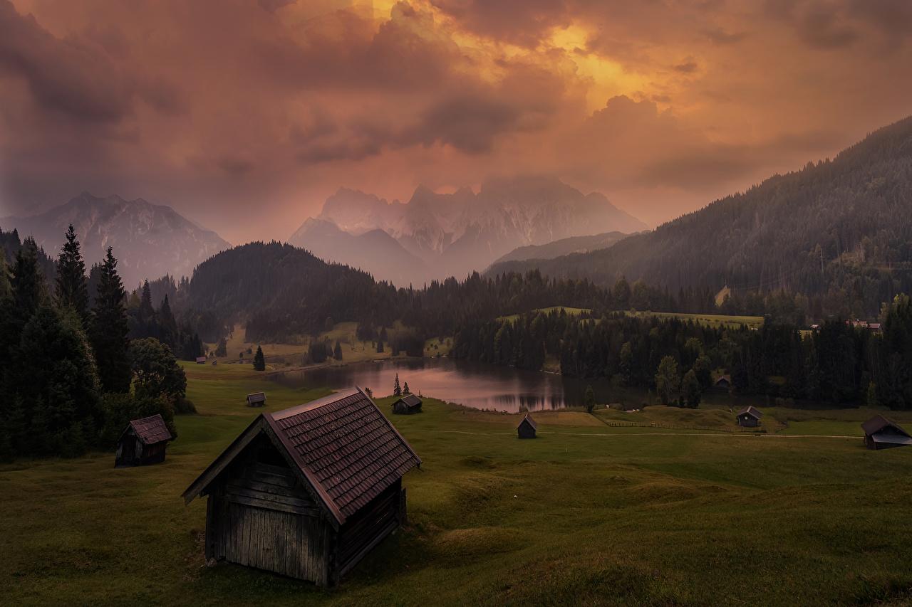 Фотографии Германия Geroldsee Горы Природа Луга Леса Озеро Вечер Дома Здания