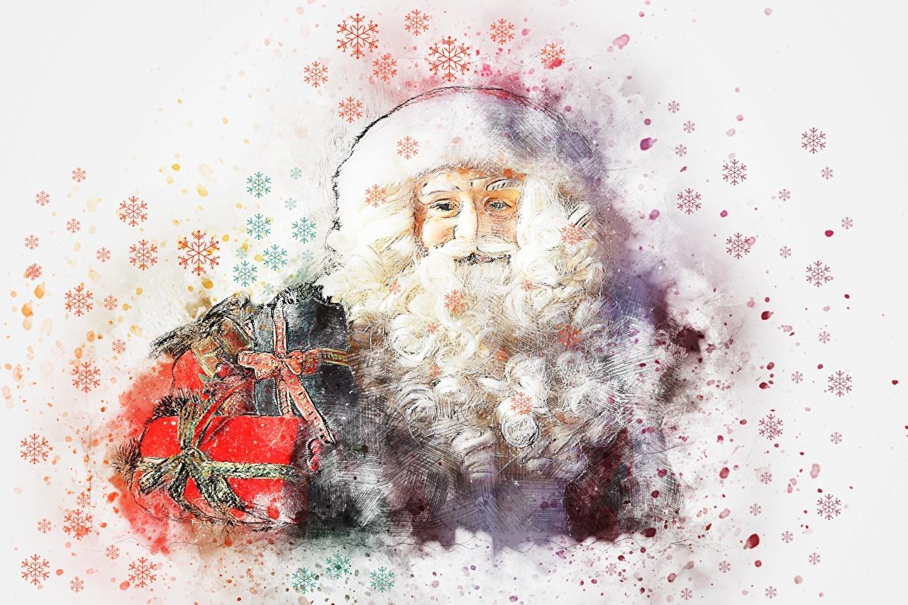 Фото Рождество Борода Снежинки Санта-Клаус Подарки Рисованные Новый год Дед Мороз